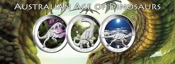 Australian Age of Dinosaurs – 1oz Silver Proof Coloured Coin - five coin series