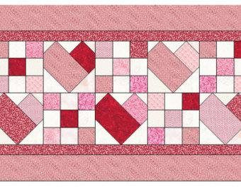 Scrappy Heart pdf instant download pattern, Valentines Day hearts table runner pattern, quilting pattern, paper piecing hearts