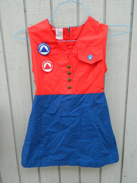 Adorable 1950s Campfire Girls of America Blue Bird Uniform Dress and Patches / Sleeveless Red and Blue Uniform Girls Dress Blue Birds on Etsy, $37.50