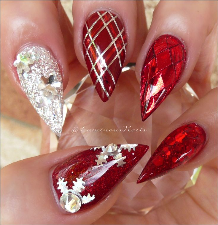 Christmas Nails... Red & Silver Christmas Nails. Acrylic & Gel Nails. Plaid Design, Metallic Red, Snowflakes.