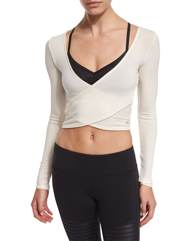 Amelia Long-Sleeve Crop Top, Women's, Size: XS, Natural - Alo Yoga