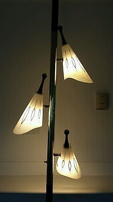 Vintage Mid Century Modern POLE LAMP Floor To Ceiling Tension Space Age  Atomic