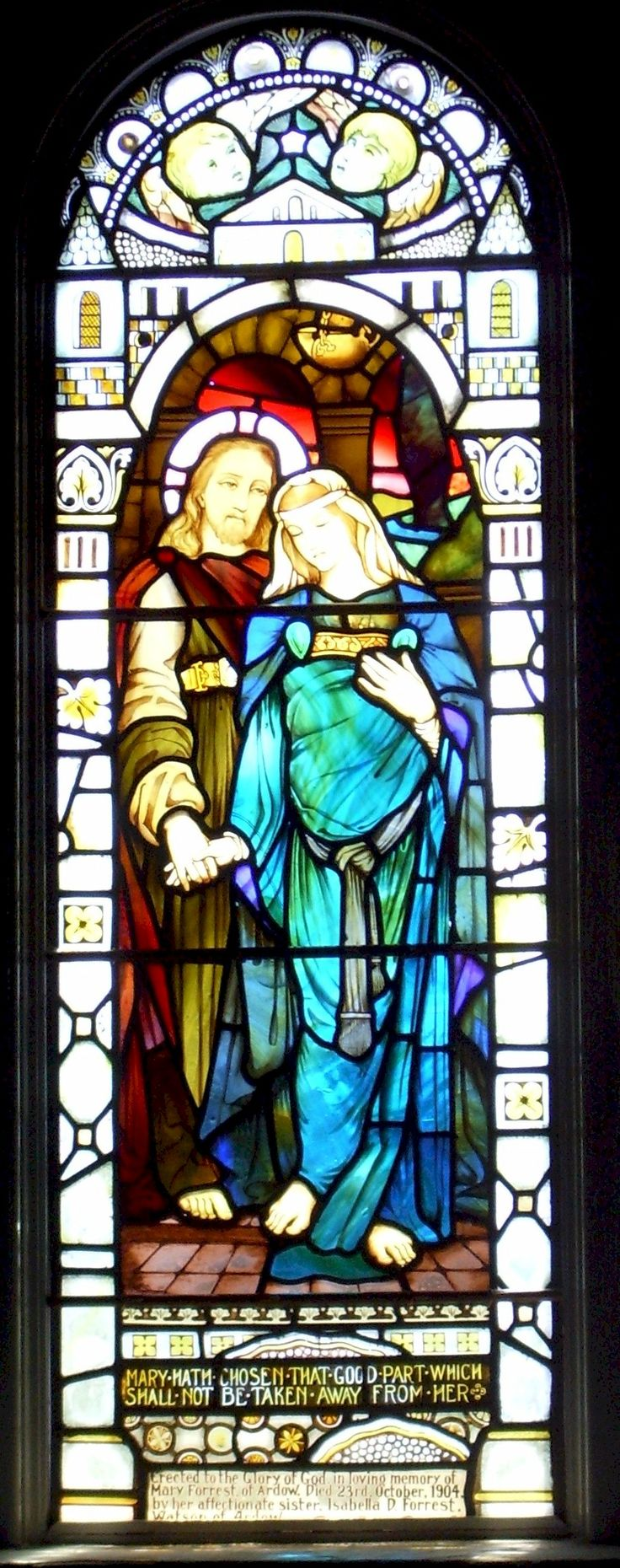 Interesting stained glass window at Kilmore Church, Scotland.