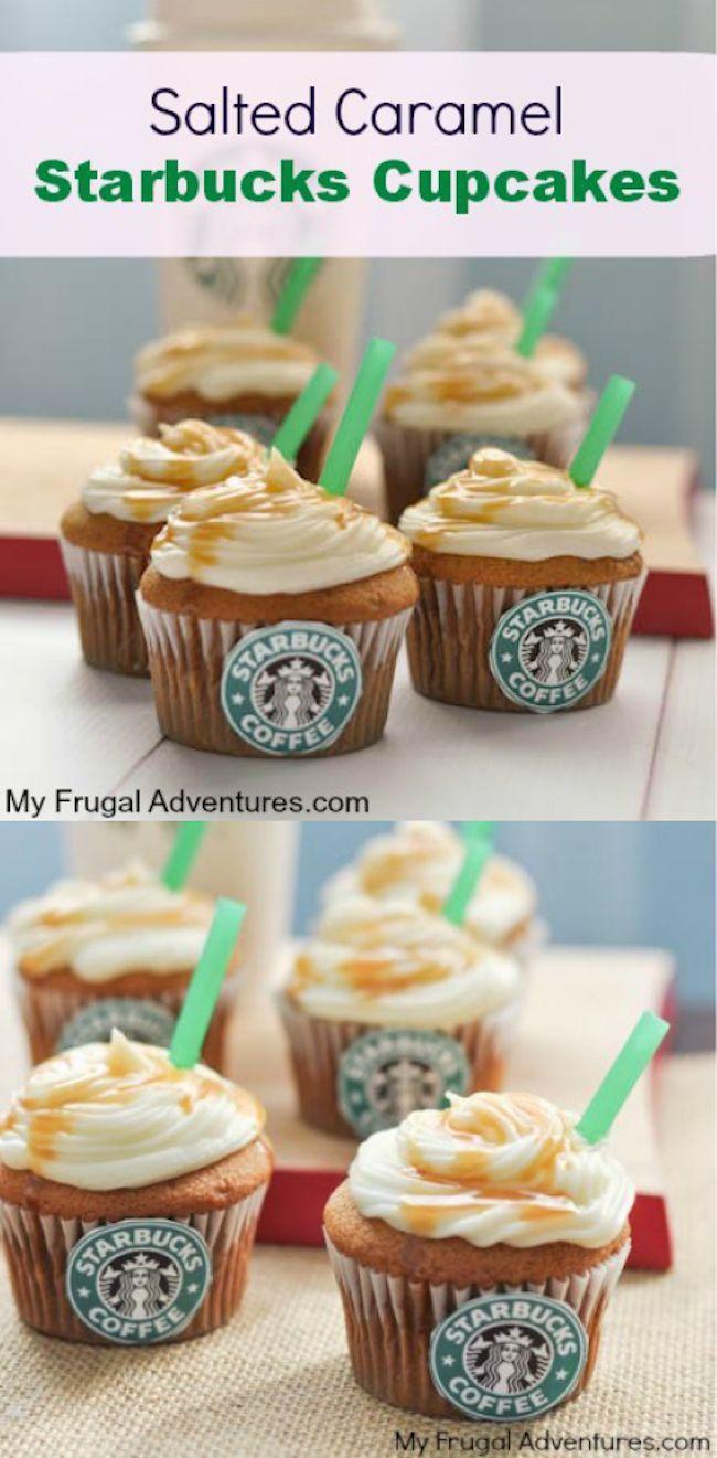 Salted Caramel Starbucks Cupcakes, love! #starbucks #cupcakes