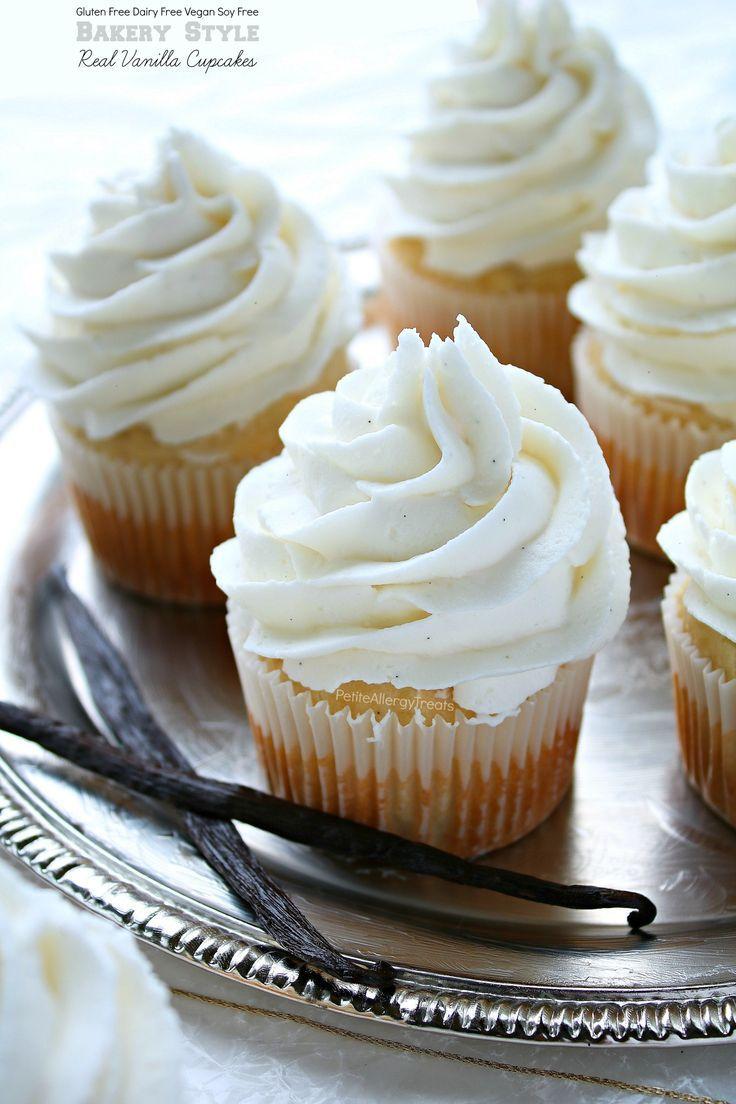 Bakery Style Food Allergy Friendly Vegan Gluten Free Vanilla Cupcakes. Real vanilla bean. Dairy free frosting, egg free.