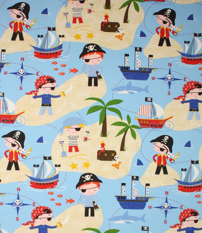 Pirate fabric with a fun kids design http www for Kids pirate fabric