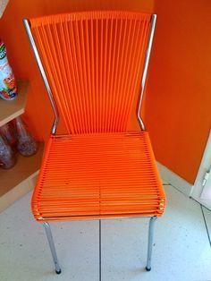 réparation, fauteuils Scoubidou, Mon Oncle, année 50, chaise, année 60, jonc plastique, fil plastique, DIY