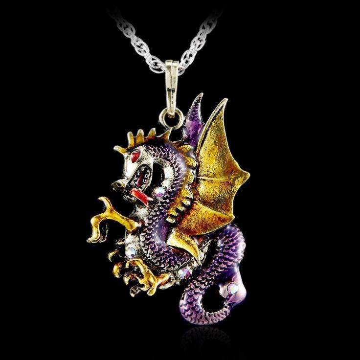 Gorgeous Antique Retro Gold Jewelry Dragon Pendants Long Necklaces Sweater Necklaces 2017 Fashion Necklace For Women Bijoux