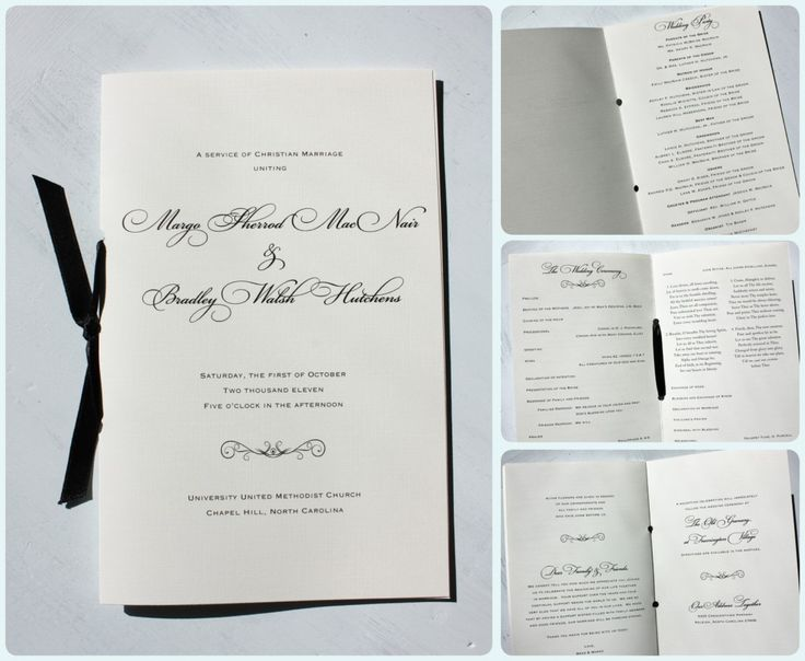 Black Fancy Script Scroll Wedding Ceremony Booklet Programs With Ribbon
