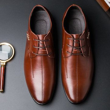 men british style pointed toe breathable classic business