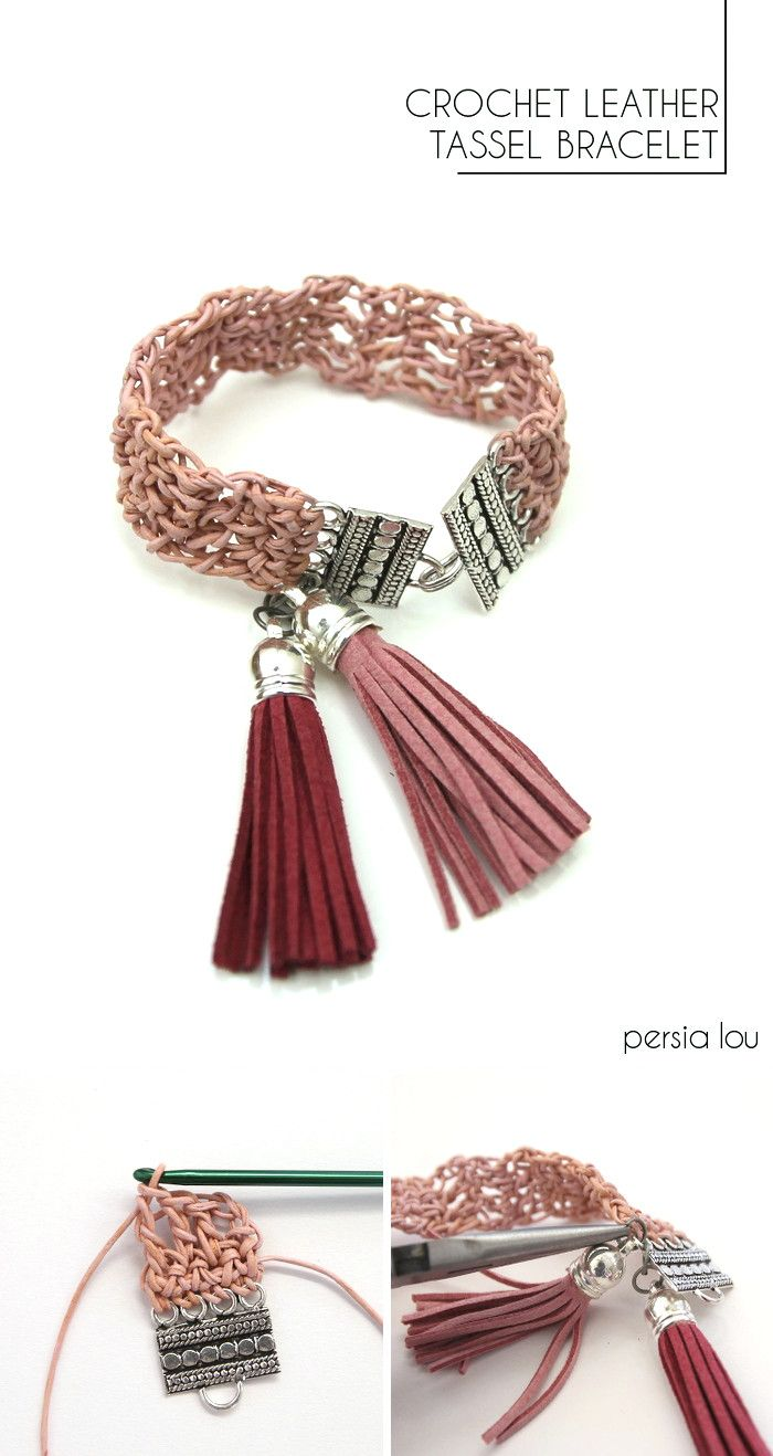 Pulsera de cuero de ganchillo. Instrucciones completas   -     Crochet Leather Bracelet: crochet thin leather cord into a pretty bracelet! Full instructions