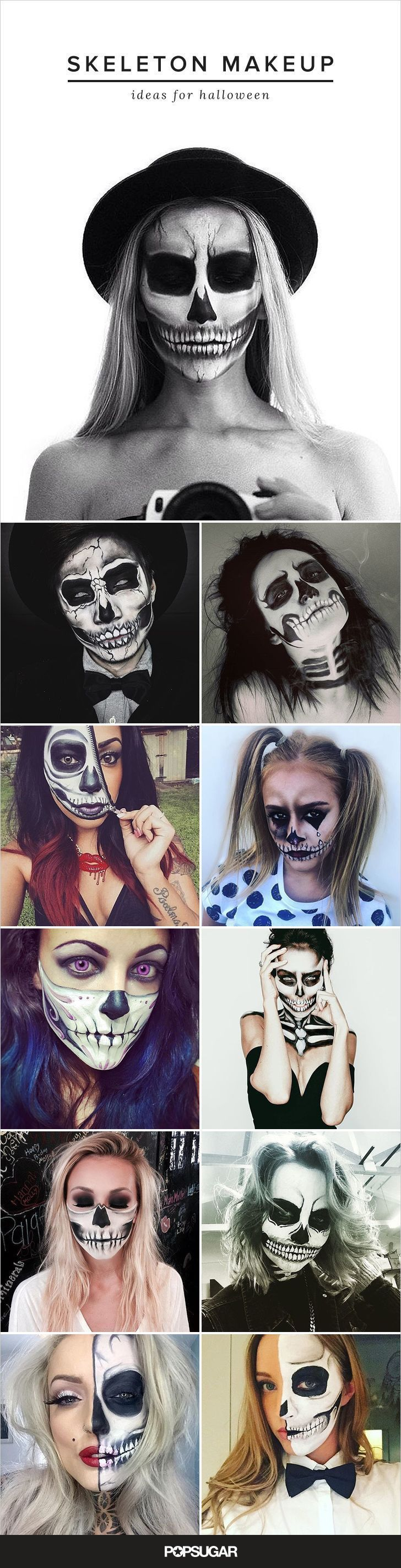 """One of our favorite Halloween looks pulls from an iconic """"scary"""" image: the skull. Using extreme contouring and shadowing, makeup can be used to create an incredibly lifelike skeleton costume. We've put together some of the most stunning skeleton faces we've seen on Instagram — each is totally gorgeous and totally terrifying."""