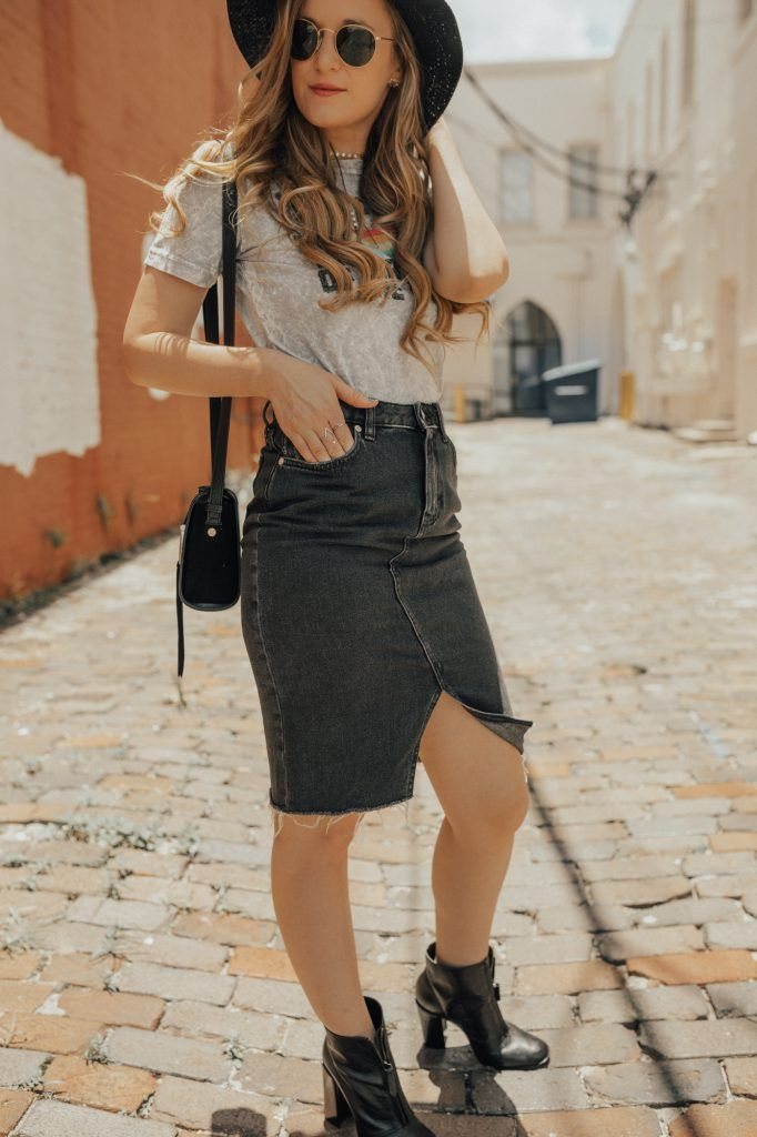 Edgy Concert Outfit | Things to Wear | Fashion, Denim skirt, Outfits