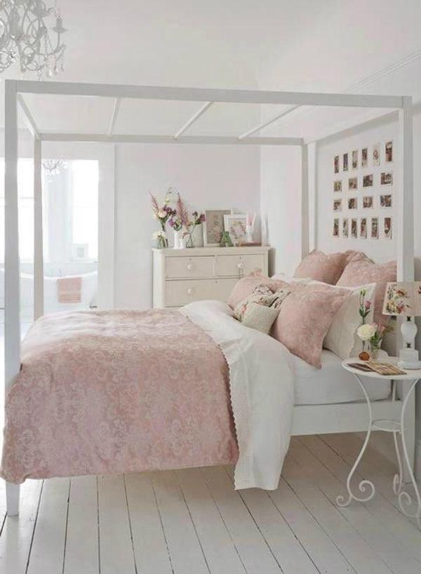 Shabby Chic Schlafzimmer Weiß Hellrosa Kombination Schöner Leuchter