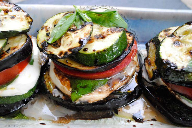 zucchini-eggplant napoleons with tomato, basil, and mozzarella. meetmygrillfriend.com