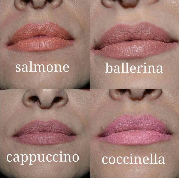 Le nostre pastello labbra #Salmone #Ballerina #Cappuccino #Coccinella in questo bel confronto di beautydolls via Instagram. #nevecosmetics
