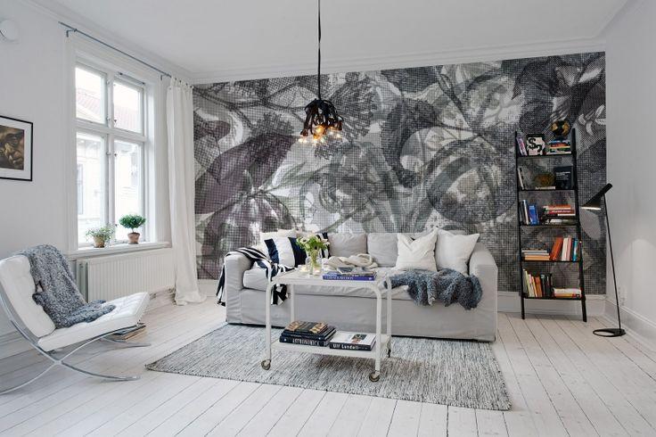 A favorite wallpaper from Rebel Walls, Jelly Belly Plants, black & white! #rebelwalls #wallpaper #wallmurals