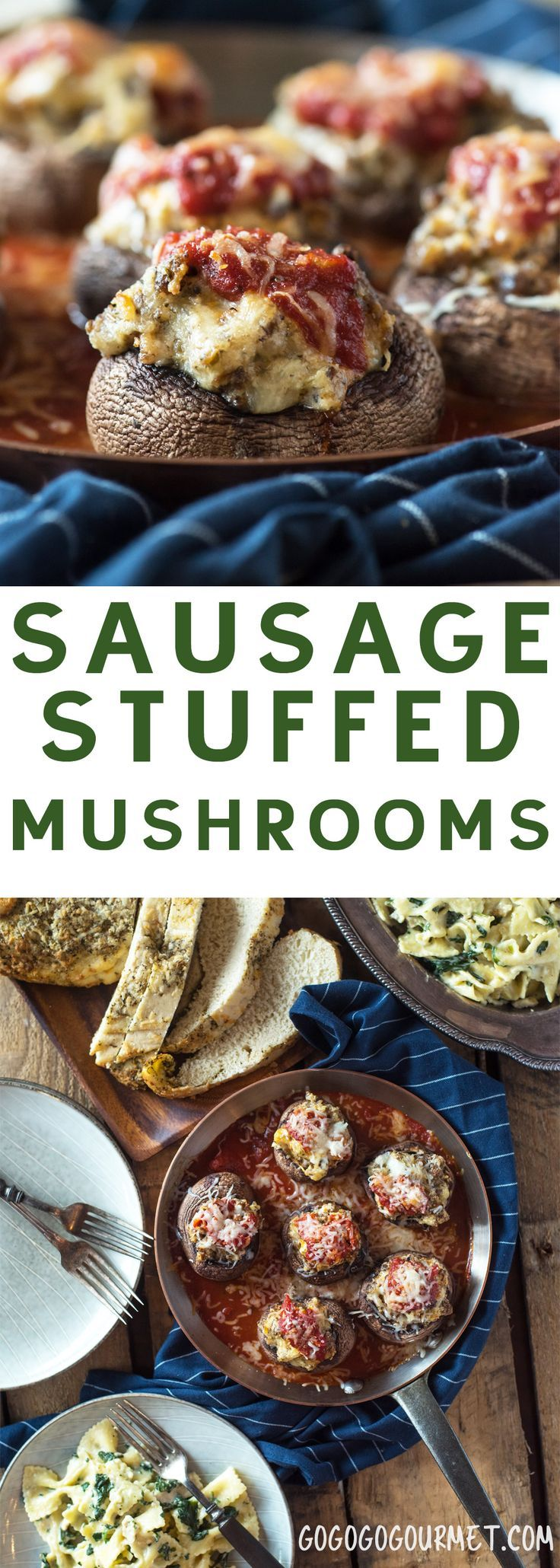 These Sausage Stuffed Mushrooms are practically dump and bake, making them an idea side dish or appetizer! | @gogogogourmet