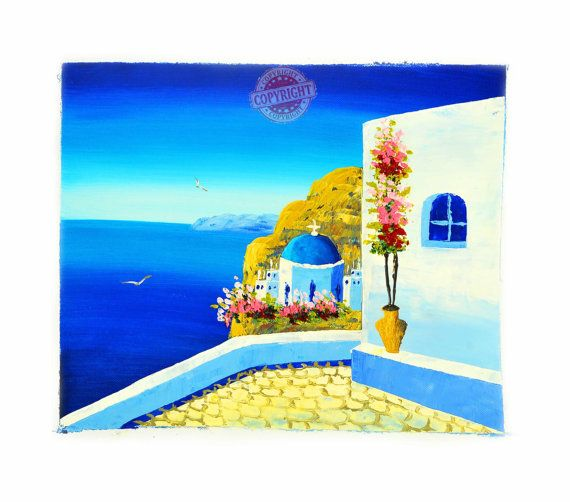 Santorini 3-Oil Painting,Painting on Canvas,Landscape Painting,Modern Canvas Art,Santorini Greece,Blue Roof,White House,Red Flowers