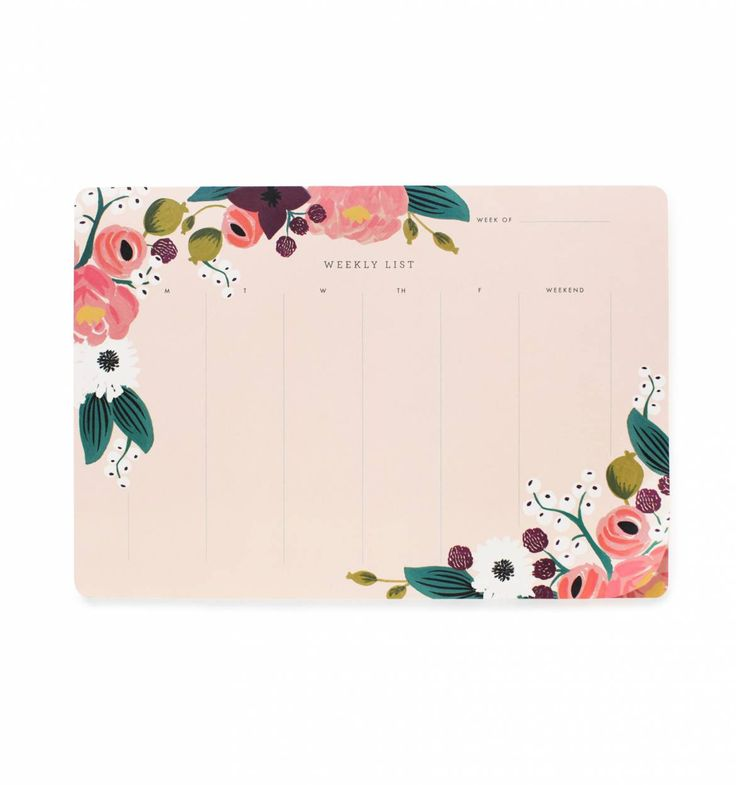 Pink Floral Weekly Desk Planner with Tear-Off Sheets