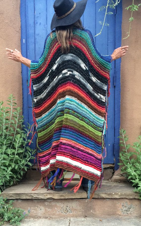 This statement piece WILL become your favorite go-to item in your closet. People are going to notice you when you wear it. They WILL come up to you, even complete strangers, and comment on it, some may even want to touch you. Just saying..... get used to it. Each poncho is one-if-a-kind, no two are alike, and as you can see, Im only mildly obsessed with color. They are made from all kinds of yarns and fibers and I use only yarns that are soft to the touch, especially around the neck. There…