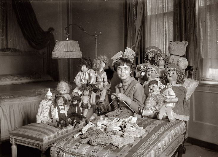 """Miss Smith and Dolls."" Emily Smith (1901-1980), daughter of New York Gov. Al Smith, circa 1919-21."