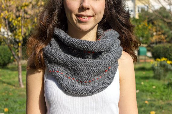 Gray Infinity Scarf  Hand Knit  winter scarfs neck by detcraft
