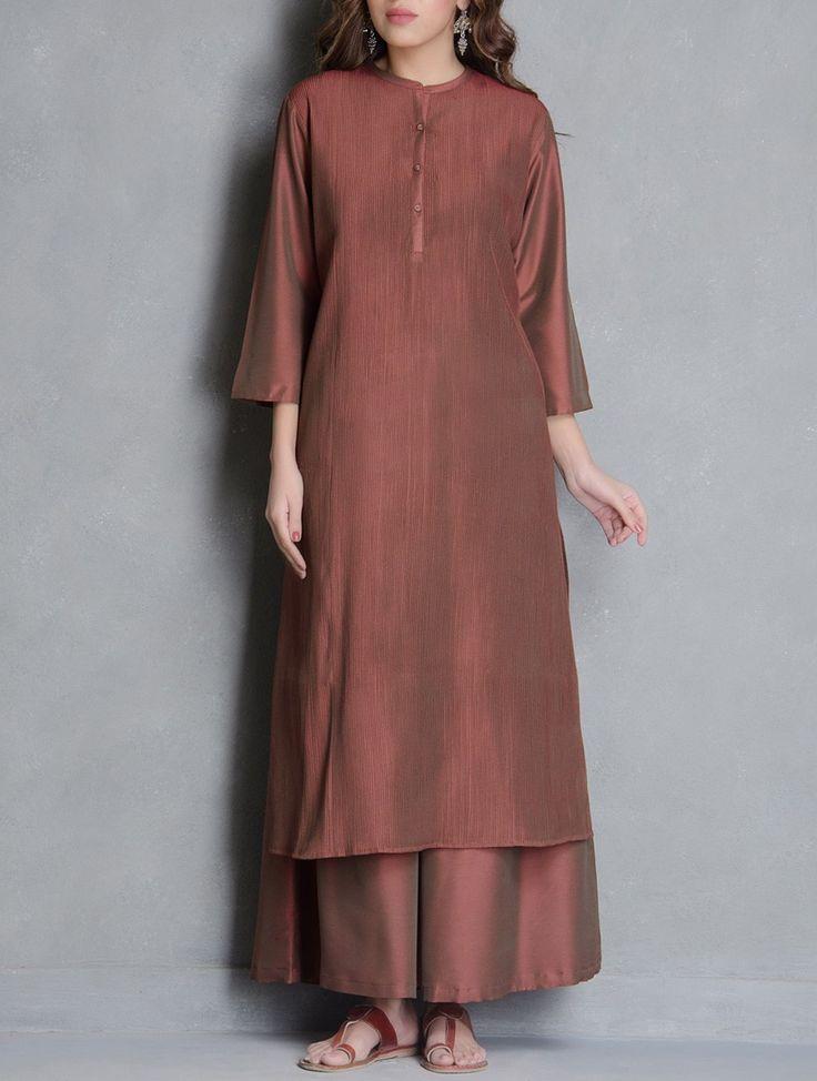 Buy Brown Pintuck & Button Detailed Katan Silk Kurta Apparel Tunics Kurtas Online at Jaypore.com