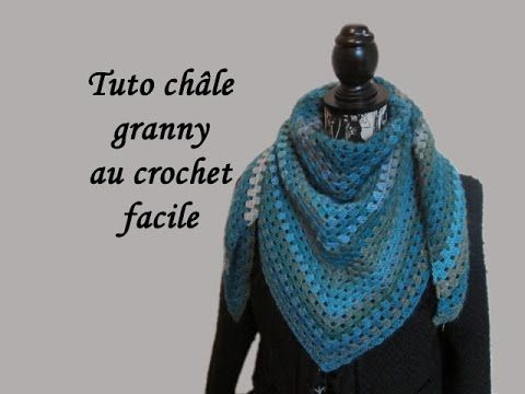 TUTO CHALE GRANNY AU CROCHET FACILE granny shawl crocheted, My Crafts and DIY Projects                                                                                                                                                                                 Plus