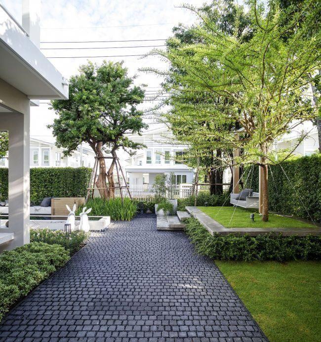 Ging Cobble Patio Ginggaanbai In 2019 Pinterest Backyard Landscaping Backyard And Garden Modern Landscaping Backyard Landscaping Modern Garden