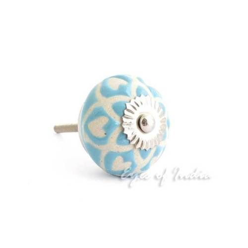 BLUE-CERAMIC-DOOR-DRESSER-CABINET-PULLS-Colorful-CUPBOARD-KNOBS-Decorative