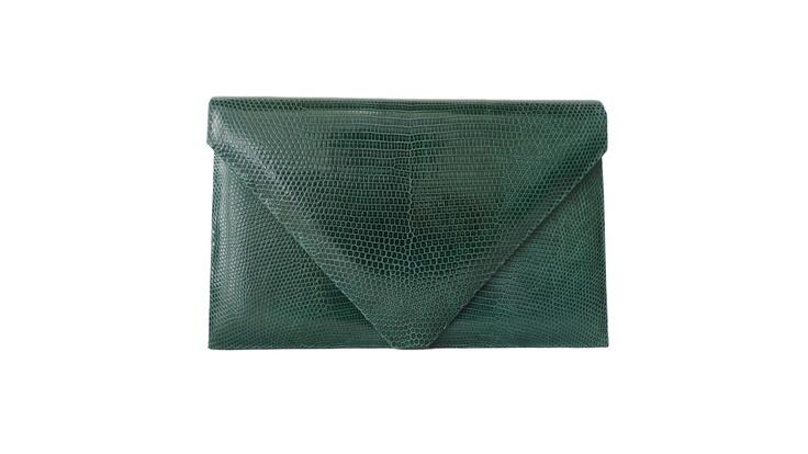 Hunting Season Emerald Lizard Envelope Clutch