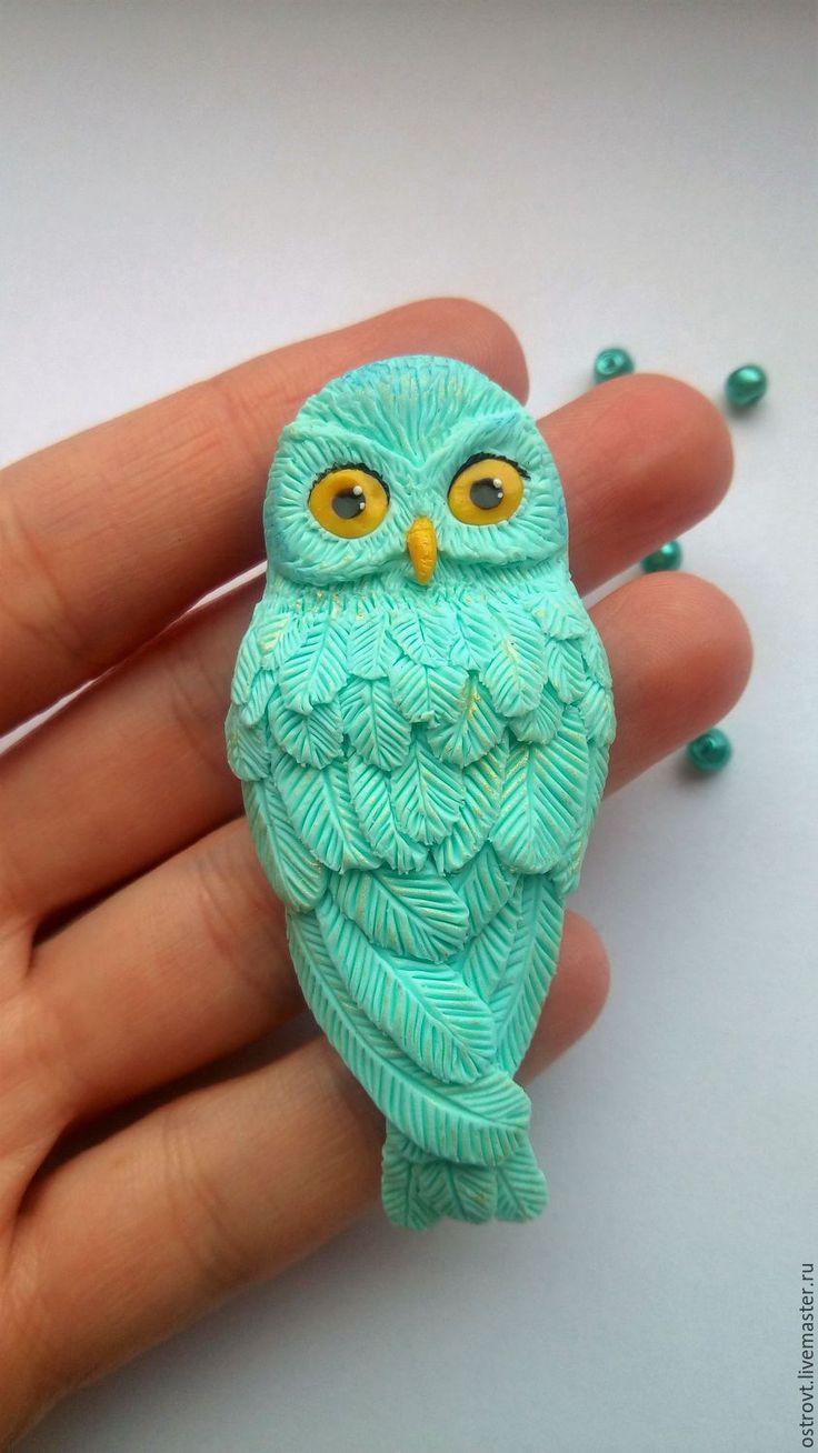 Купить Брошь Сова из полимерной глины - брошь, брошь ручной работы, украшение, подарок девушке