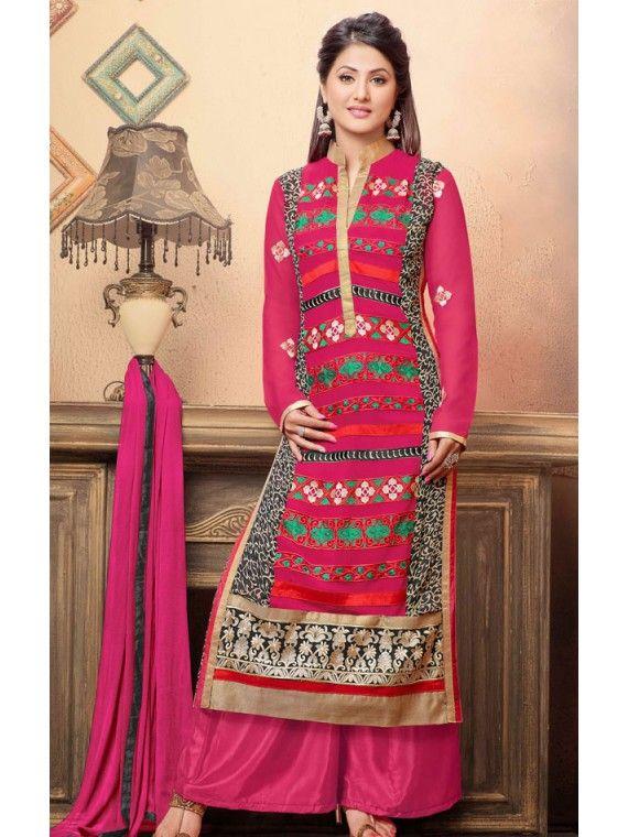 Dreamy Pink Heena Khan Palazo Kameez