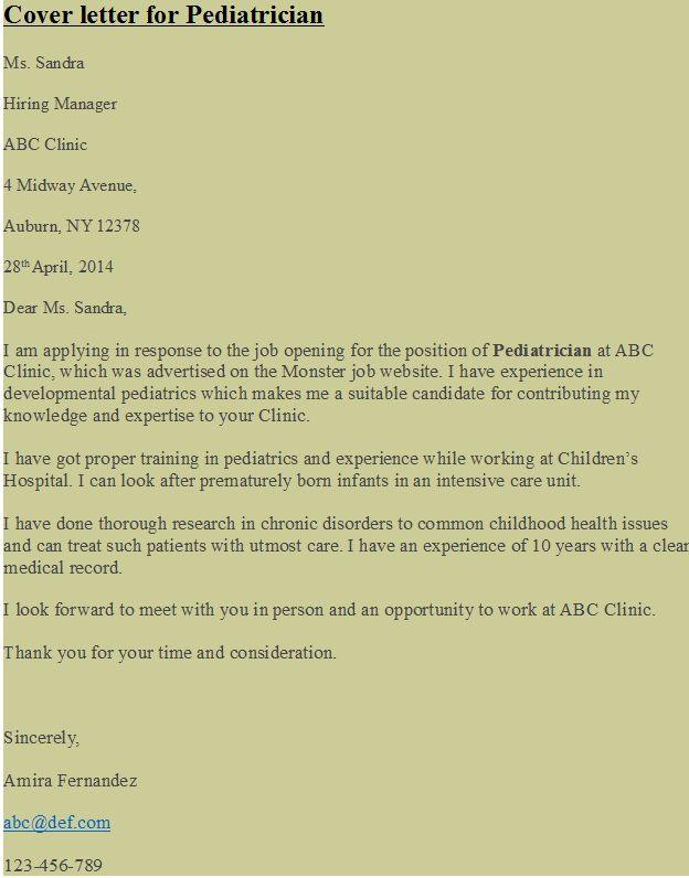 cover letter for pediatrician httpshipcvcom - Cover Letter For Pediatrician