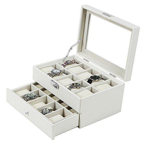 Songmics White Leather 20 Watch Box with Drawer Glass Top Lockable Watch Display Case Organizer UJWB201 Songmics-Watch box http://www.amazon.com/dp/B00R5M8A6C/ref=cm_sw_r_pi_dp_vbBGwb08RSA6J