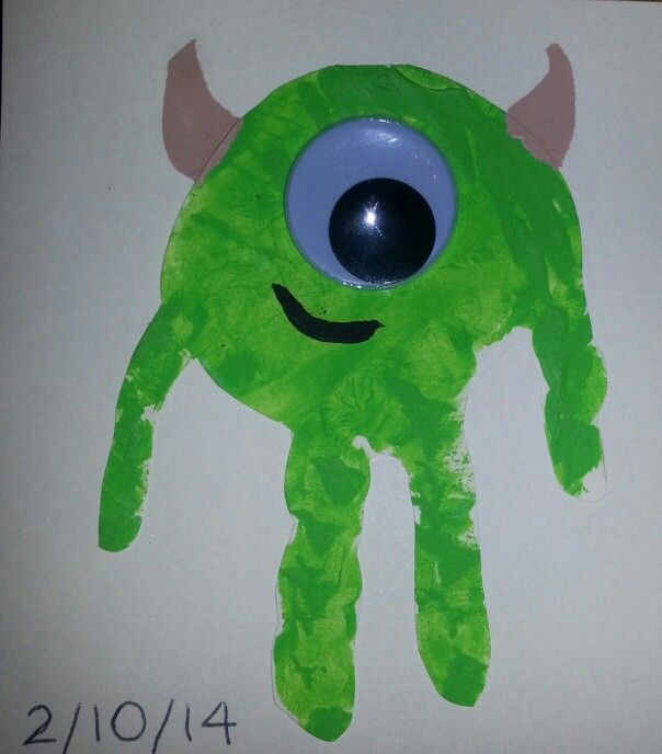 Monsters Inc Monsters University handprint art. Mike Wazowski handprint art.