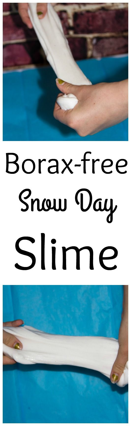 Want to make slime without Borax? This is a simple Borax free slime recipe that is great for a snow day or anytime. Kids love playing with slime.