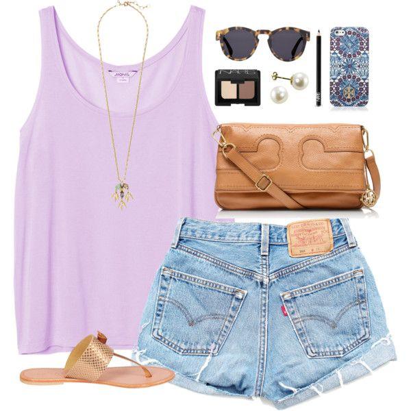 #summer #outfits / Purple Tank Top + Denim Shorts