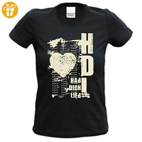 Geburtstagsgeschenk für Frauen Girlie T-Shirt mit Aufdruck:Hab Dich lieb Farbe: schwarz Gr: XL (*Partner-Link)