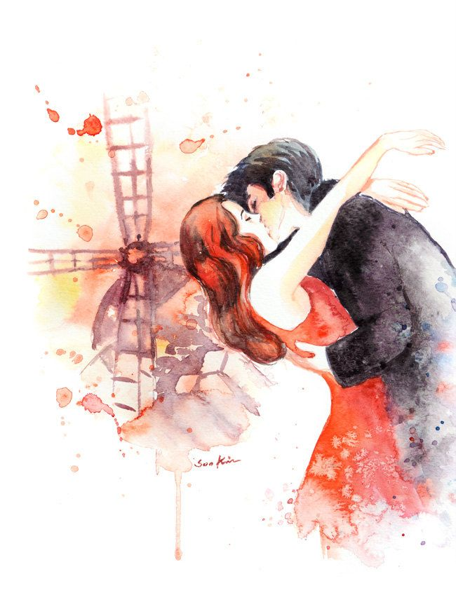 Moulin Rouge Movie poster inspired Watercolor by sookimstudio