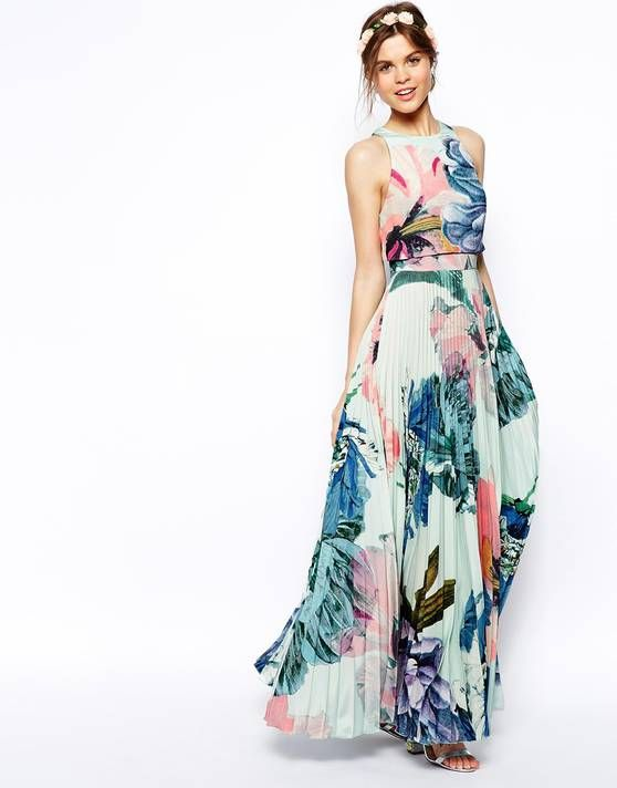 ASOS SALON Pleated Crop Top Maxi Dress - Asos