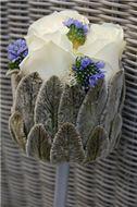 Meesterlijk Groen - Modern boeketje - witte roos, ezelsoor