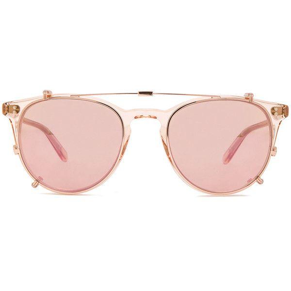Garrett Leight Milwood Clip Sunglasses (£277) ❤ liked on Polyvore featuring accessories, eyewear, sunglasses, pink sunglasses, garrett leight sunglasses, garrett leight, rose gold sunglasses and pink glasses