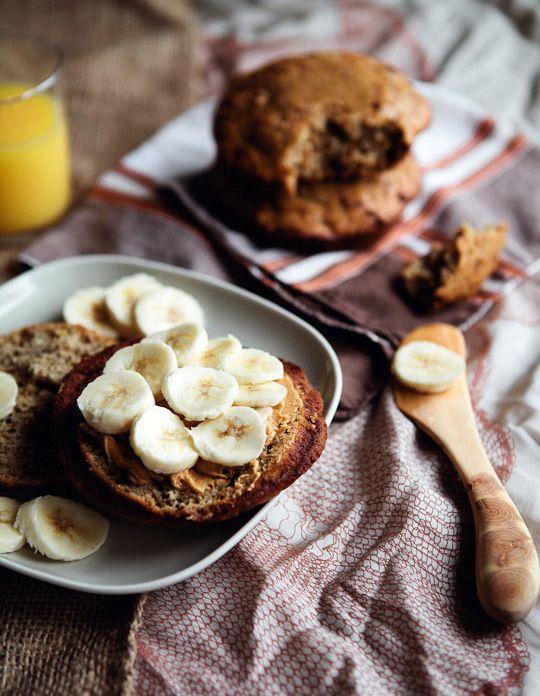 banana muffin tops with steel-cut oatmeal