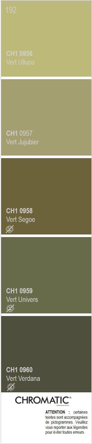 Découvrez toutes les nuances de vert du nuancier CHROMATIC®, source d'inspiration pour finaliser vos projets décoratifs. Ici la page 192 en exemple : les verts kaki, très en vogue en 2015. Rendez-vous sur www.chromaticstore.com #nuancier #vert #deco