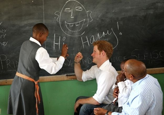 """Can you teach us the word for ginger?"" Prince Seeiso asked the students. ""Can you teach us the word for bald?"" Prince Harry retorted. 