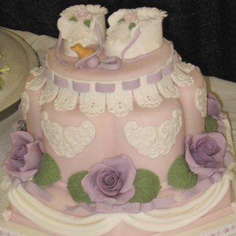 Gâteau pour Baby Shower : le gâteau fleuri