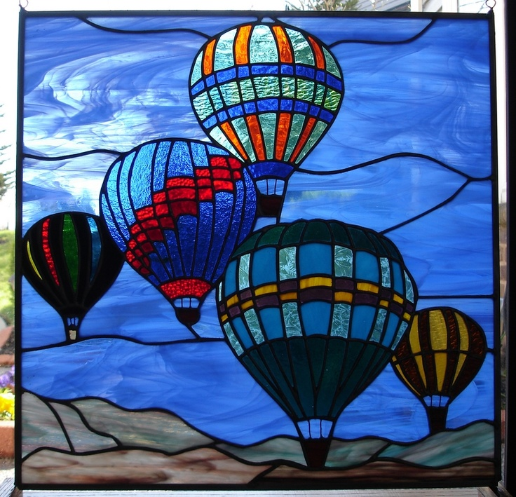 Five Hot Air Balloons Stained glass ideas Pinterest