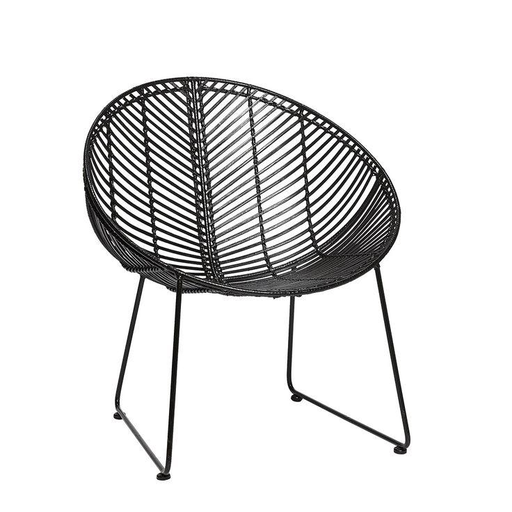 2 stk. rund stol sort i rattan fra Hübsch Interior. Hurtig leveringstid. 14 dages fuld returret. På lager. Fri fragt ved køb over 499,-